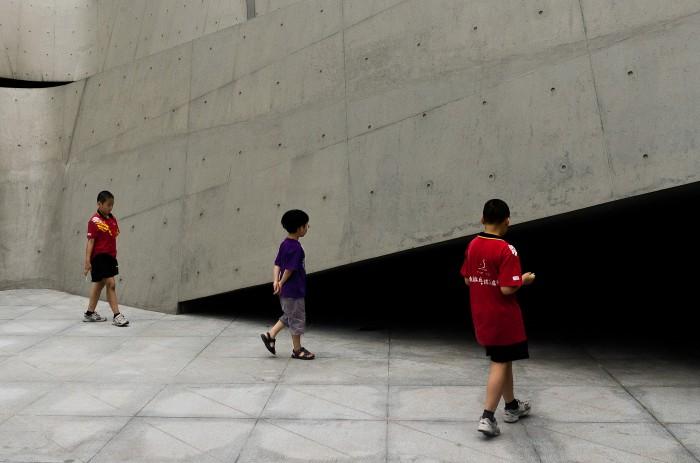 Three boys and concrete